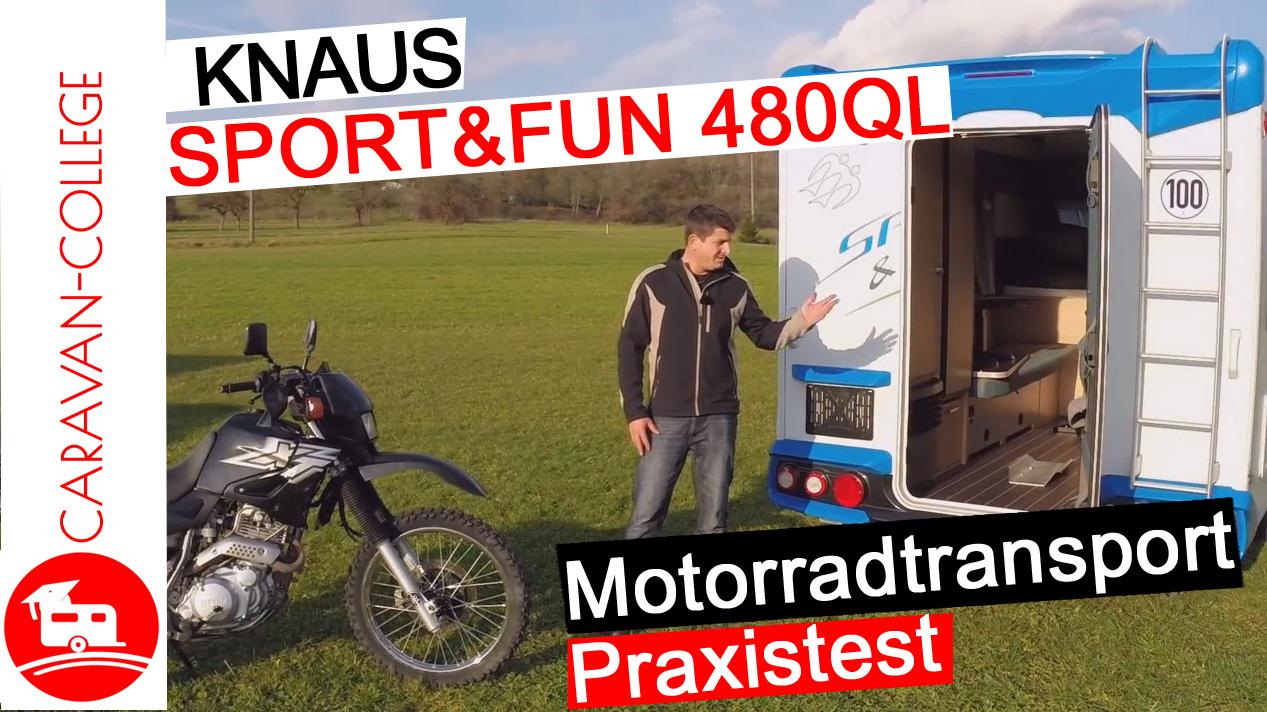 Motorradtransport im Sport & Fun 480 QL von Knaus